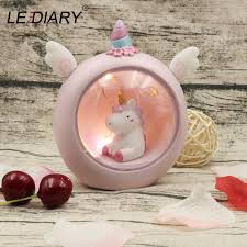 blue pink unicorn lamp led night light battery operated cute cartoon baby kids childern nursery sleeping bedside lamps