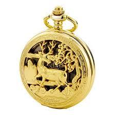 TREEWETO Vintage Pocket Watch Mechanical <b>Double</b> Cover ...