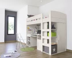 adorable beige painted wooden loft beds with computer desk underneath and space saving stairs equipped clear bunk bed office space