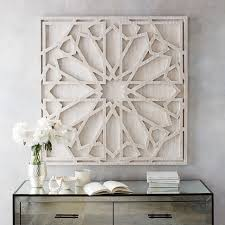 inspired by geometric stone carvings this grand whitewashed wood wall art adds artistic wood pieces design