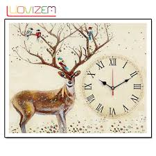 <b>Homemade Wall Clock 5D</b> Deer Rhombic Cross Stitch Rose Watch ...