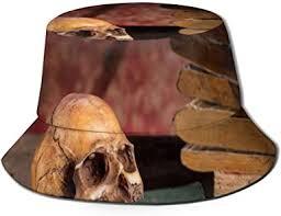 SLHFPX Sun Bucket Hat Vintage <b>Skull and</b> Book Retro <b>Fisherman</b> ...