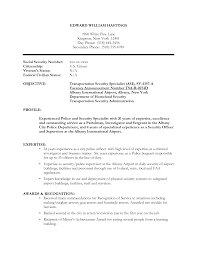 resume samples security officer