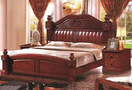 solid wood furniture antique wood bed 18 meters with modern design column classical section double bed wood furniture
