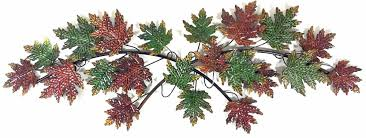 tree scene metal wall art: metal wall art autumn leaves tree branch