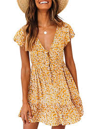 Aleumdr <b>Women's</b> Floral Print Summer <b>V</b>-<b>Neck</b> Deep Dress Size <b>S</b>-<b>XL</b>