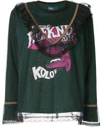 Shopping Special: Kolor lace layered printed top - Green