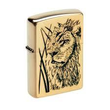 <b>Зажигалка Zippo</b> 204B <b>Proud Lion</b> Brushed Brass, золотистая ...