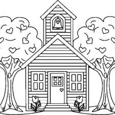 Small Picture School House Between Two Trees Coloring Page Coloring Sky