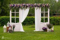 Vintage <b>French door</b> arch with five clusters of <b>flowers</b>, orchids, <b>roses</b> ...
