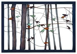 tree scene metal wall art: metal wall plaque features scene of bare tree branches home accent decor traditional metal