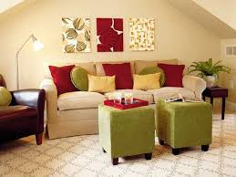 red green living rooms