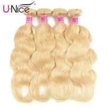 UNice #<b>613 Blonde Brazilian Body</b> Wave Human Hair Extensions 1 ...