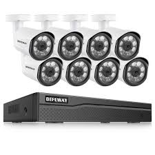DEFEWAY 8CH <b>HD 5.0MP</b> Weatherproof Outdoor Security System ...