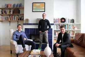 airbnb founders nathan blecharczyk joe gebbia and brian chesky in the meeting room based on airbnb office 6 google san