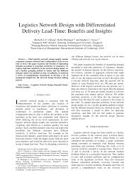 (PDF) Logistics Network Design with Differentiated <b>Delivery</b> Lead ...
