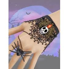 [35% OFF] 2020 <b>Halloween Party Skull Lace</b> Spider Ring Bracelet In ...