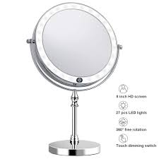 Makeup Mirror with Light 8 Inch 1X 10X Magnification <b>Double Sided</b> ...
