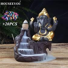 HOUSEEYOU <b>Ganesha Backflow Incense Burner</b> Elephant God ...