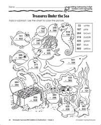 Worksheets 3 Digit Subtraction Coloring Coloring Pages