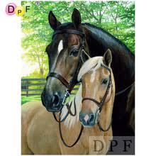 DPF Diamond embroidery Two horse diamond mosaic kit wall ...