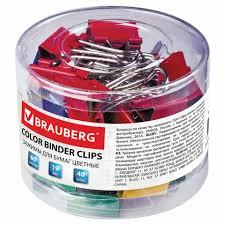 <b>Зажимы для</b> бумаг <b>BRAUBERG</b>, КОМПЛЕКТ 40 шт., 19 мм, на 60 ...