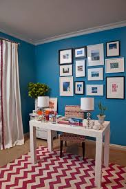 emily ruddo design traditional home office idea in los angeles with blue walls blue office room design