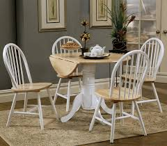kitchen pedestal dining table set: damen dual tone country dining set with drop leaf pedestal round table