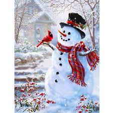 <b>Winter scenery Snowman</b> picture 3D diamond painting cross stitch ...