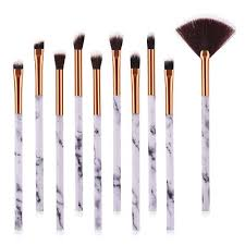 1 4 10pcs professional women marble brushes makeup tool kit soft foundation powder brush make up tools set h0057