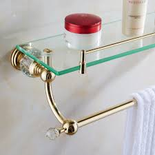 bathroom tempered glass shelf: free shipping bathroom accessories solid brass golden finish with tempered glasscrystal double glass shelf