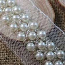 Ivory beaded trimming pearl <b>edge fringe</b> trim sewing wedding bridal ...