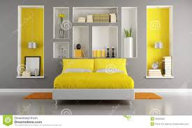 yellow and gray bedroom: yellow and gray modern bedroom yellow gray modern bedroom double bed niche rendering