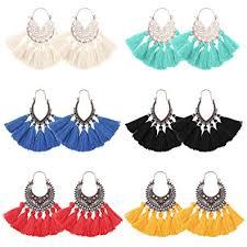 LOYALLOOK 6Pairs <b>Vintage Tassel Earrings</b> Long <b>Bohemian</b> Fringe ...