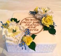 floral retirement cake cakecentral com simple floral cake for two co workers who are retiring fondant covered cake piped royal icing dot design on the side plaque made using fmm letter