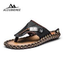 ALCUBIEREE Brand <b>Men's</b> Casual Shoes <b>Genuine Leather Sandals</b> ...