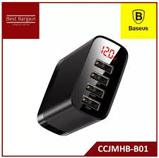 <b>Baseus Mirror Lake</b> Digital Display 4USB Travel Charger 30W (EU ...