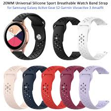 <b>20MM</b> Universal <b>Silicone Sport</b> Breathable Watch Band Strap for ...