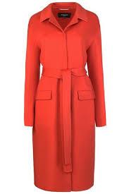 Прямое <b>пальто</b> с поясом <b>Rochas</b> 100605 Коралл купить за 91490 ...