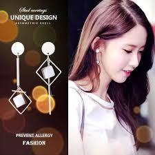 <b>S925 silver needle</b> earrings female long <b>asymmetric</b> earrings wild ...