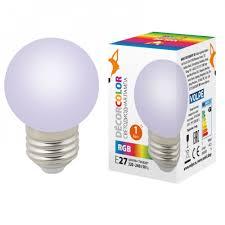<b>Лампа</b> светодиодная <b>LED</b>-<b>G45</b>-<b>1W</b>/<b>RGB</b>/<b>E27</b>/<b>FR/С</b> шар Uniel UL ...