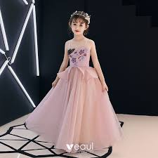 <b>Elegant</b> Pearl <b>Pink Flower Girl</b> Dresses 2019 A-Line / Princess ...
