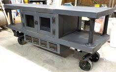 industrial age railroad cart kitchen island bar