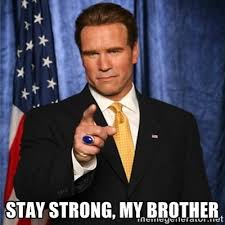 Stay strong, my brother - arnold schwarzenegger | Meme Generator via Relatably.com
