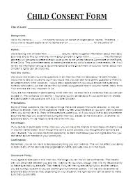 child consent form permission letter for medical treatment