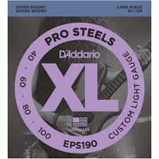 <b>D'ADDARIO EPS-190 струны</b> для бас <b>гитары</b> ProSteels round 40 ...