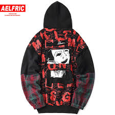 AELFRIC 3d Graffiti Printing <b>Plaid Spliced</b> Hoodies Sweathshirts ...