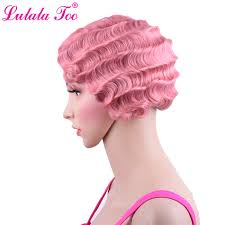 <b>Short Pink Curly Synthetic</b> Wig For Black Women Finger Wave Wig ...