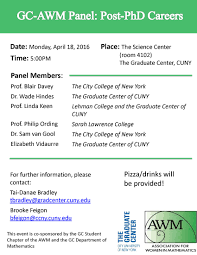 conferences monday 18th 2016 gc awm panel post phd careers