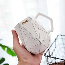 Ceramic Cup <b>Creative Polygonal Ceramic Mug</b> Office Coffee Cup ...